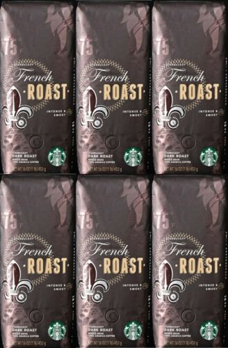Starbucks (6-Pack) French Roast Whole Bean 1lb Dark Roast Coffee BBD 11/20