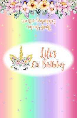 Rainbow Floral Unicorn Theme Chocolate Wrappers Printable Digital -Print At Home ()