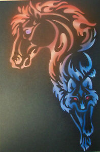 Flame Fire Horse and Wolf Step by Step Airbrush Stencil Template Craft