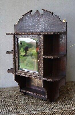 Antique Oak Display Cabinet Tramp Art Style