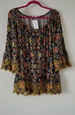 $68 Fever Tunic Chic Embroidered Blouse Boho Peasant Rayon Plus Size 1X ()