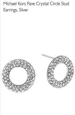 Michael Kors Pave Crystal Circle Stud Earrings, Silver