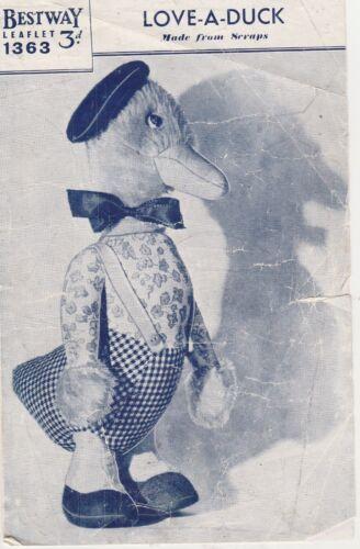 Vintage+retro+photo+copy+sewing+Pattern+bestway+1363+CHILDRENS+LOVE-A-DUCK