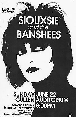 SIOUXSIE AND THE BANSHEES 1987 HOUSTON CONCERT TOUR POSTER - U.K. New Wave Music - $10.99
