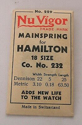 18's Hamilton #232 Factory Packaged New Old Stock Pocket Watch Mainspring #11