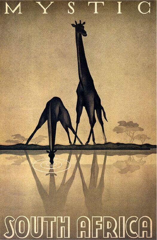 Mystic South Africa Giraffe Giraffes Vintage Travel Advertisement Art Poster
