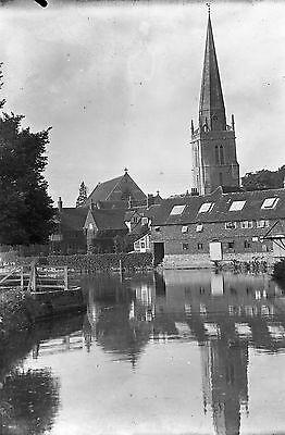 1910s ABINGDON #15 Antique Photographic Glass Negative (Thames St Helens Church)