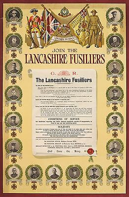 WW1 RECRUITING POSTER LANCASHIRE FUSILIERS VICTORIA CROSS WINNERS NEW A4 PRINT 2