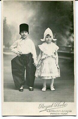 CPA - Carte Postale - Fantaisie - Portrait Photo de 2 Jeunes Enfants (M8067)