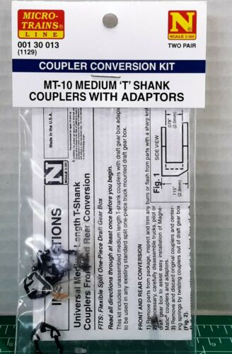 N Scale Micro Trains MT-10 Medium T-Shank Couplers 2 Pair Item #00130013 (1129)