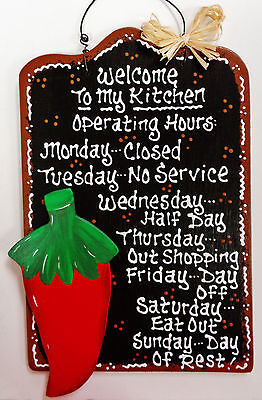 RED CHILI PEPPER SIGN Kitchen Operating Hours Wall Art Southwest Decor Plaque Pepper Kitchen Decor