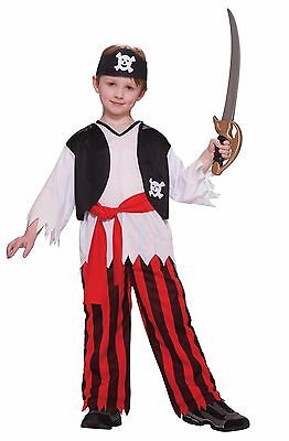 Boys Caribbean Pirate Costume Pants Shirt Vest Bandana Halloween Child Kids  (Children Pirate Costume)