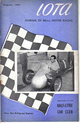 IOTA 500cc Racing Club Magazine August 1951 Official Organ of the 500 Club