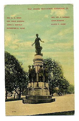 Jewels Monument Columbus OHIO Vintage OH 1911 Postcard USA Franklin stamp