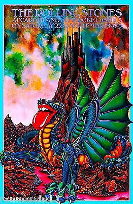 1973 The Rolling Stones Concert Castles Wales Welsh Travel Advertisement Poster
