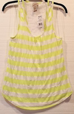 (Eyelash Couture Juniors Striped Neon Yellow Sheer Lace Back Racerback Tank Top )