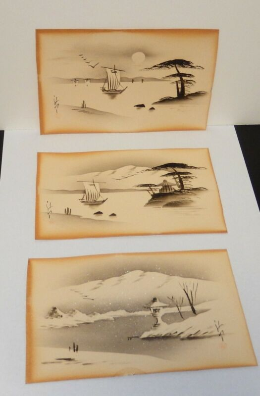 THREE PIECE JAPANESE SNOW LANDSCAPE WATERCOLOR PAINTINGS SIGNED