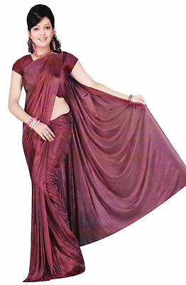 Trendofindia Bordeaux Bollywood Sari Viscose