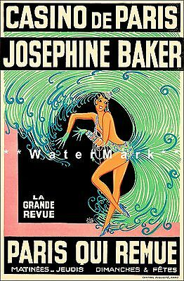 Josephine Baker 1930 Revue Casino De Paris Vintage Poster Print Actress Dancer