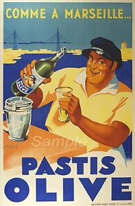 VINTAGE PASTIS OLIVE ALCOHOL FRENCH ADVERTISING A4 POSTER PRINT