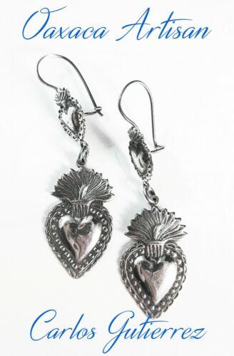 """Oaxaca Master Artist """"CARLOS GUTIERREZ"""" Double Sacred Heart 925 Dangle Earrings"""
