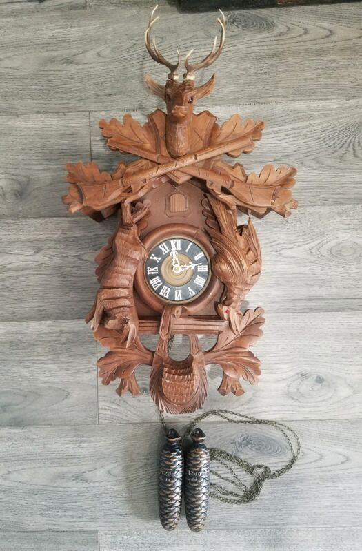 Cuckoo Clock-Black Forest Vintage - West Germany- Dear- Bird-Rabbit-Rifles