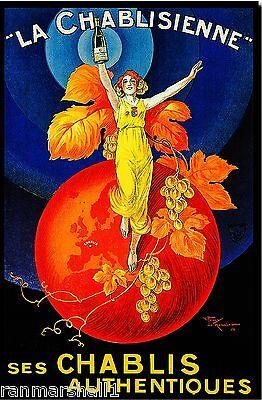 """""""La Chablisienne"""" Ses Chablis White Wine Vintage Advertisement Art Poster Print"""