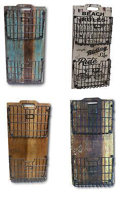 Wandregal Hängeregal Regal mit 2 Körben Vintage Retro Look Massiv Mango-Holz - Mango Holz Wand Regal