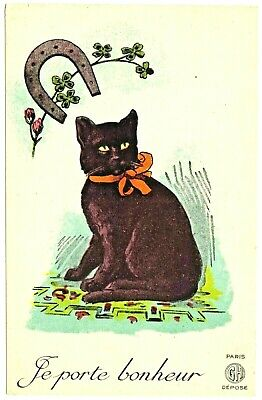 """French France Black Cat Four Leaf Clover Horseshoe """"The Lucky Charm"""" antique pc"""