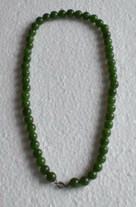 An Old Oriental Chinese Green Jadeite Necklace