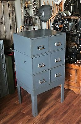Vintage Industrial Metal Card File Cabinet with Stand