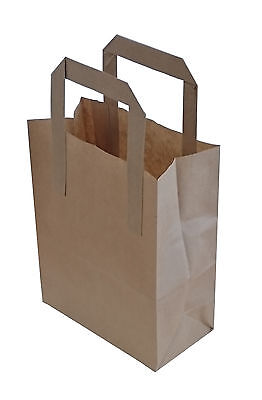 100 x Kraft Paper SOS Carrier Bags Brown with Flat Handles / Takeaway / Gifts