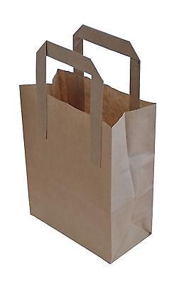100 X Kraft Paper Sos Carrier Bags Brown With Flat Handles Takeaway Gifts