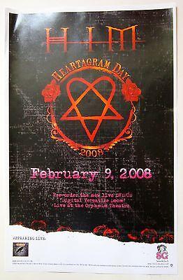 HIM *Heartagram Day February 2008* RARE Promo Poster Day Venus Doom Dark Light