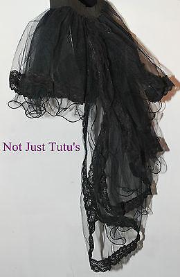 Tutu Black Lace Trim With Burlesque Tails Adult Child Unique Curly Full