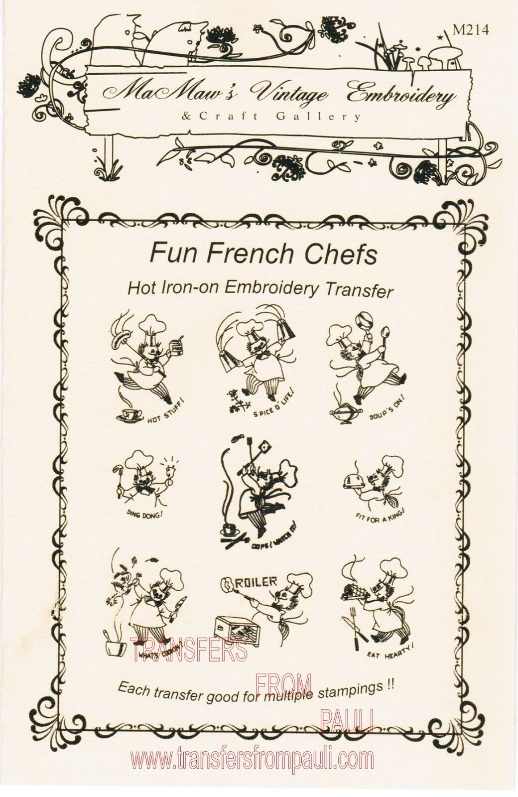 Fun french chefs hot iron embroidery transfers by mamaw s