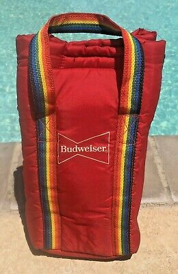 Budweiser 1980s Rainbow Straps Collapsible Beer Cooler Nostalgic Retro Ice -