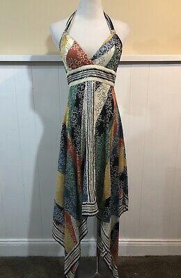 Beaded Handkerchief Hem Dress (BCBG MaxAzria Beaded Handkerchief Hem Silk Dress Sz)