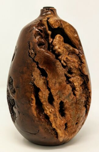 MCM - Hand Turned Handmade Burl Wood Bud Vase - Hollow Form Wooden Sculpture
