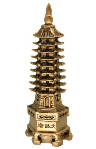 Feng Shui Brass Color Wen Chang Pagoda Statue Decor for Education and Career