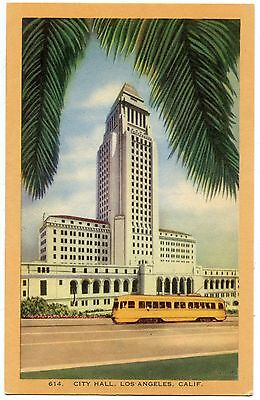B7079 City Hall Los Angeles Ca Streetcar Linen Postcard Longshaw Card Co  No 614