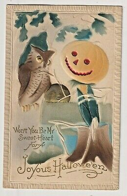 HALLOWEEN Airbrush Vintage Postcard RARE Jack-o Lantern corn man,& Owl Won't
