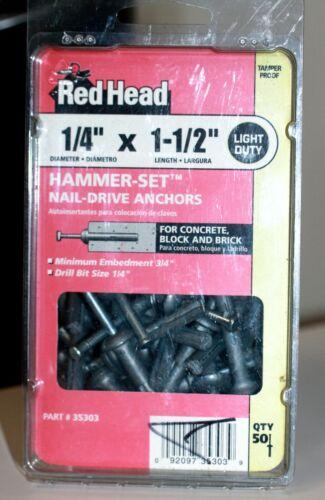 "ITW Red Head 1/4"" X 1 1/2"" hammer-set nail drive anchors concrete/block/brick 50"