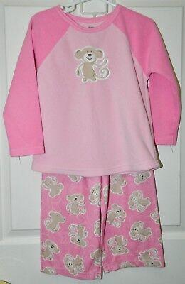 Monkey Pink Girls Pajamas - CARTERS girls Pink Micro Fleece MONKEY 2-pc PAJAMAS Pj's* 4