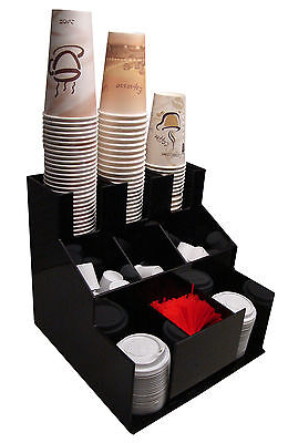 Cup And Lid Dispenser Holder Coffee Station Condiment Caddy Rack Sugar Organizer