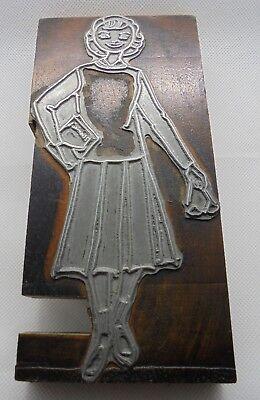 Vintage Printing Letterpress Printers Block Girl Dress Holding Book Huge Block