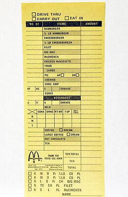 1977 Mcdonalds Cash Register Meal Order Taking Form Sheet Menu Pad Receipt Slip