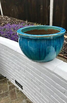 Huge Garden Pot And Heavy Thick Turquoise/TiffanyBlur Quality Glazed Terracotta