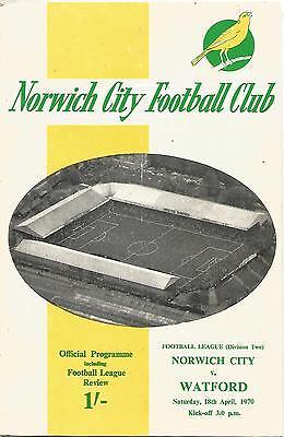 Football Programme - Norwich City v Watford - Div 2 - 18/4/1970