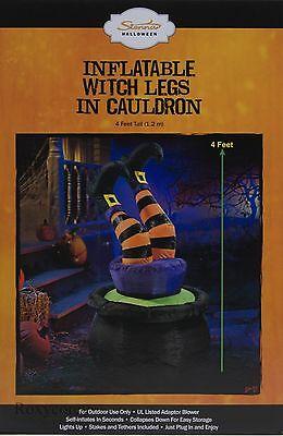 Halloween Sienna 4 ft Tall Witch Legs in Cauldron Airblown Inflatable NIB